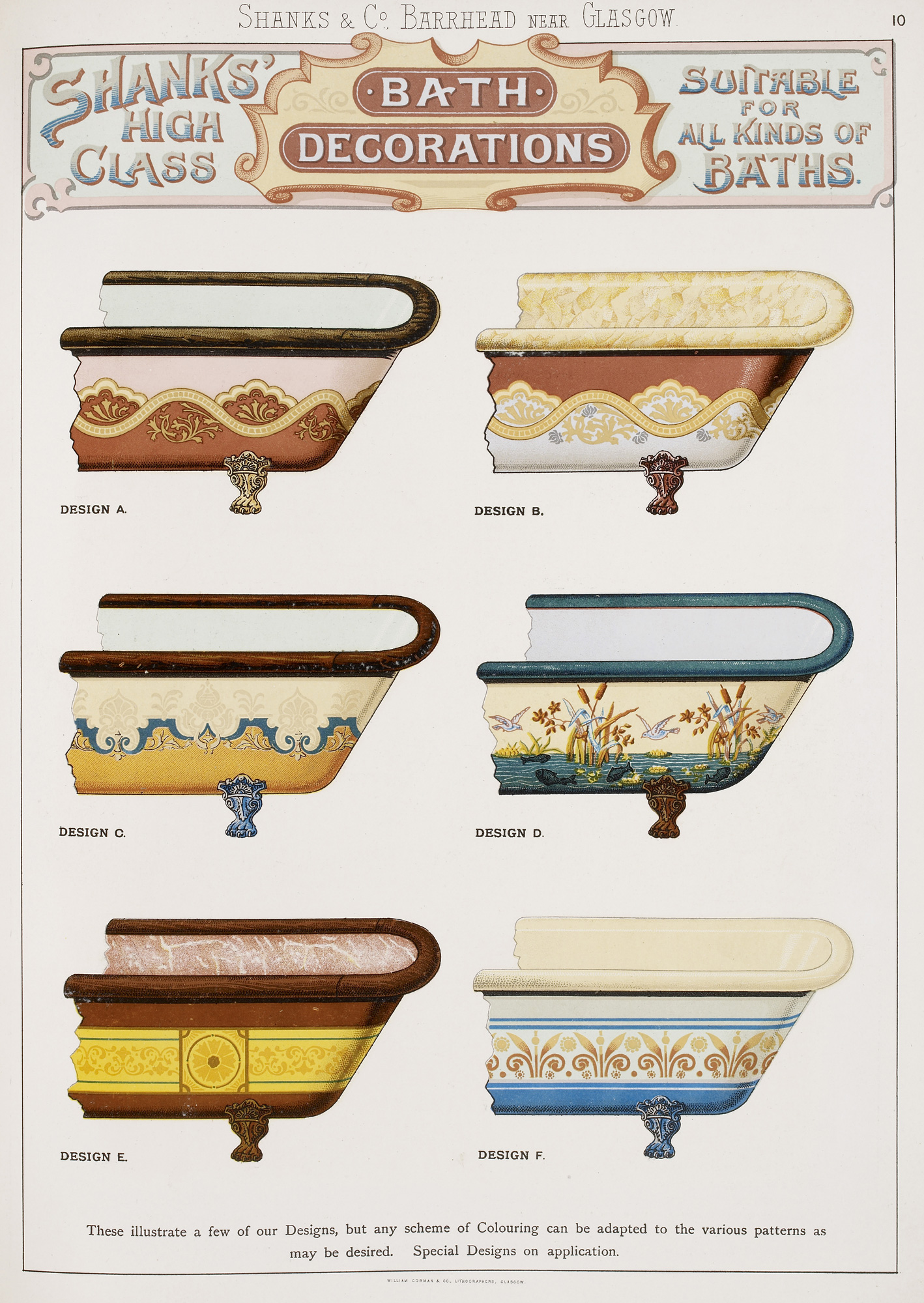 Advertisement for designer baths from Shanks & Co.