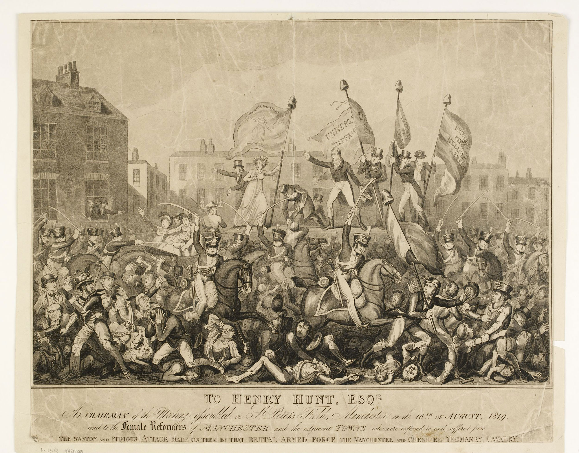 Print depicting the Peterloo Massacre