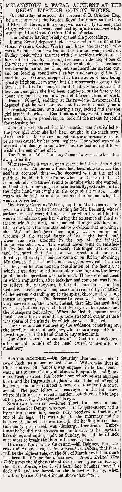 Newspaper report of fatal accident at the Great Western Cotton Works