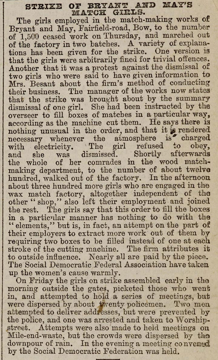 Newspaper article reporting the Match Girls' strike