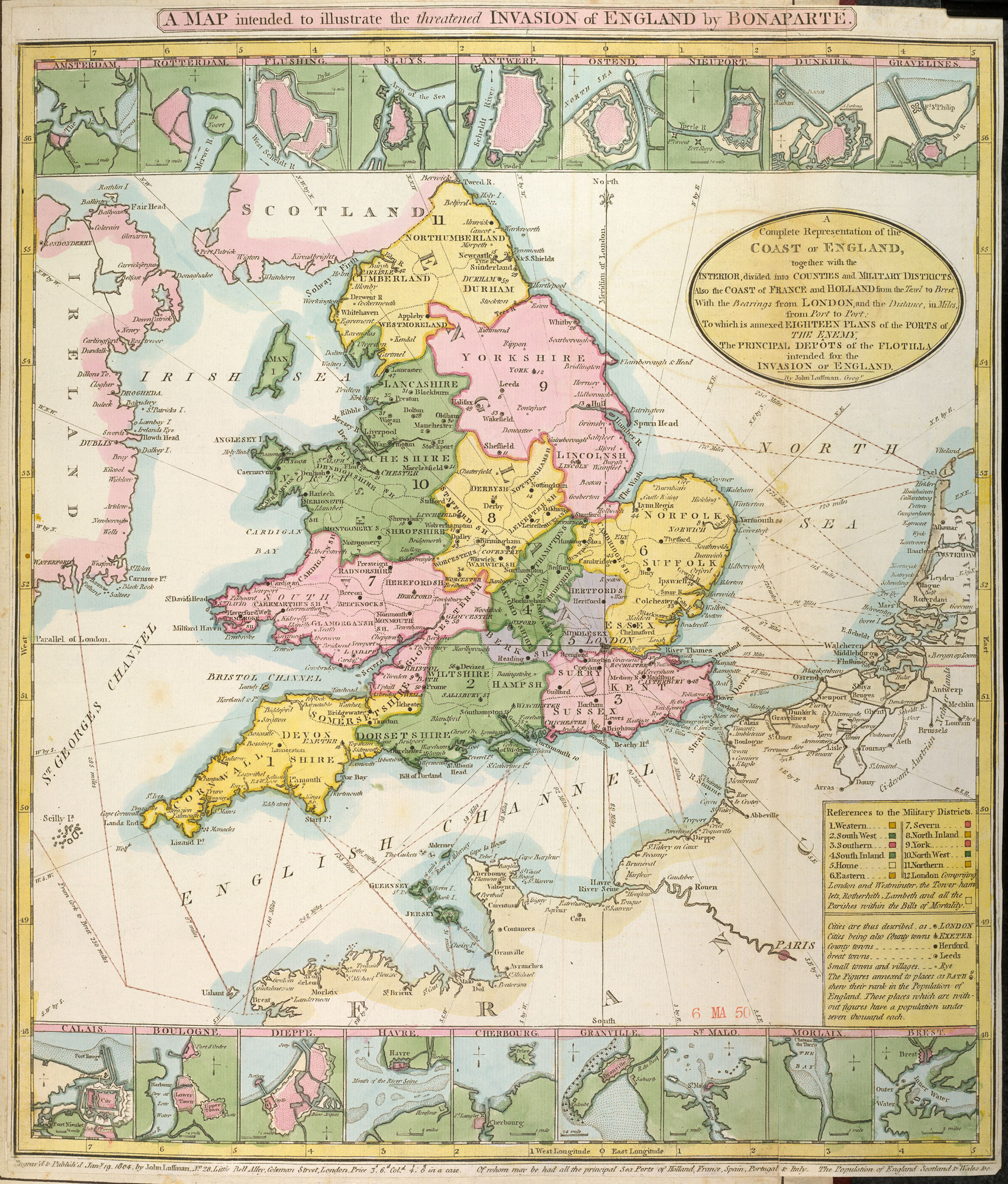Map from a collection of material relating to the fear of a French invasion