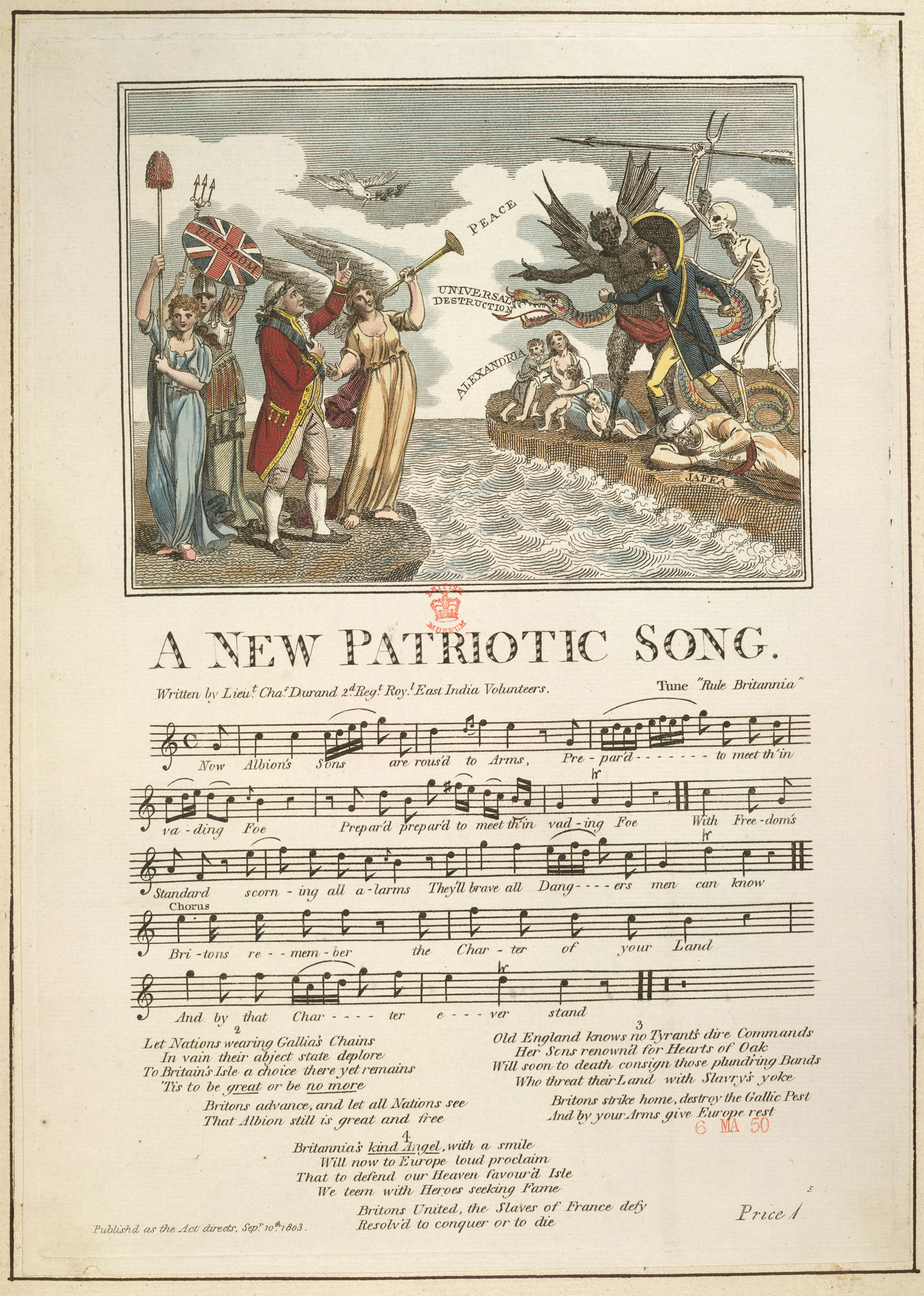 A New Patriotic Song, from a collection of material relating to the fear of a French invasion