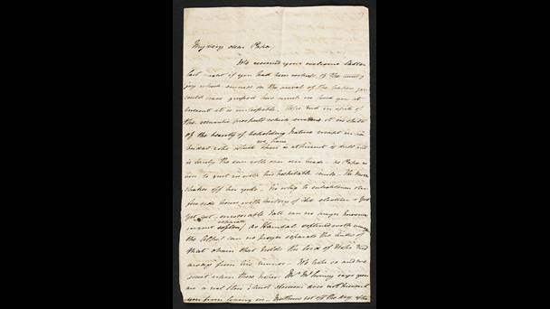 Handwritten letter from Elizabeth Barrett Browning as a teenager or young woman to her father