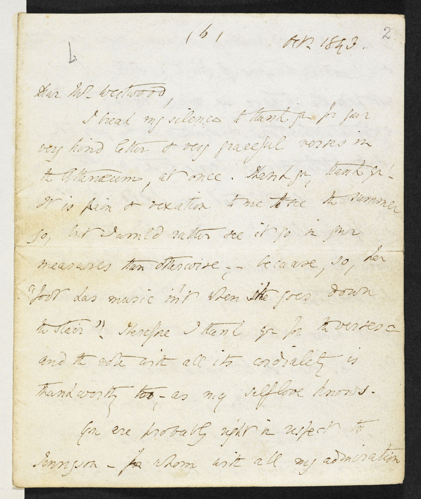 Letters from Elizabeth Barrett Browning to Thomas Westwood, 1843-53