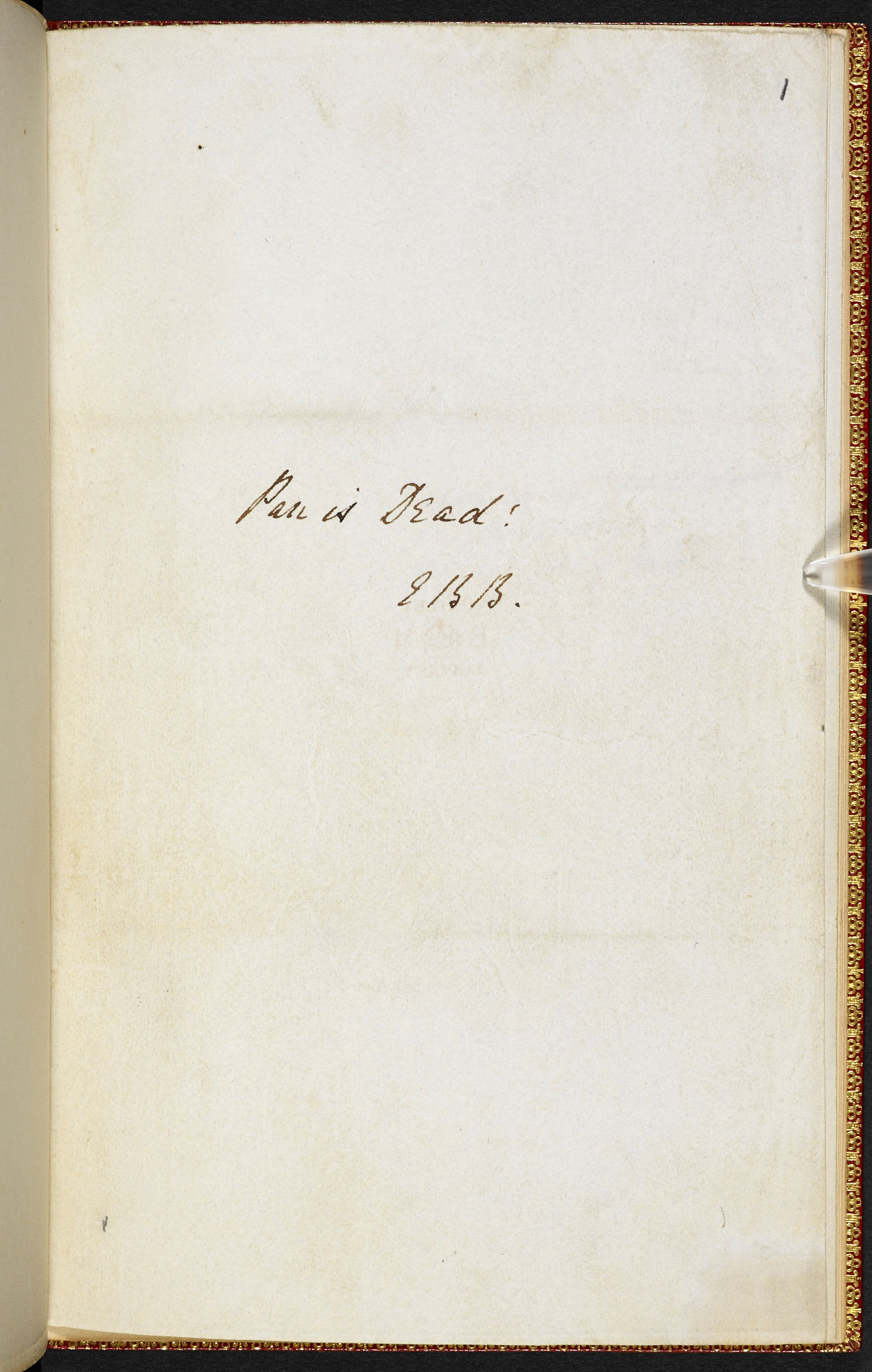 Manuscript, with revisions, of Elizabeth Barrett Browning's 'Pan is Dead!'