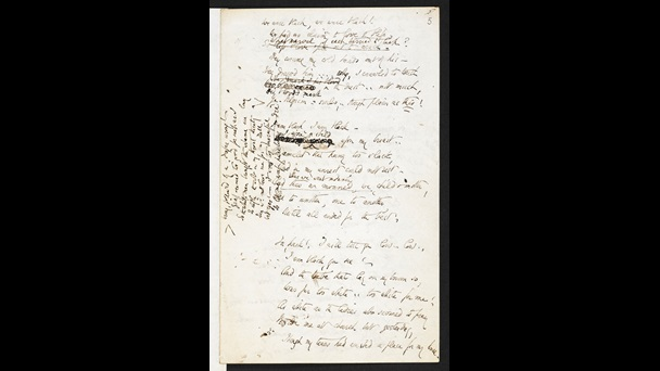 Page containing the handwritten draft of Elizabeth Barrett Browning's 'The Runaway Slave at Pilgrim's Point', with some sections crossed out, and some text added in vertically in the margin