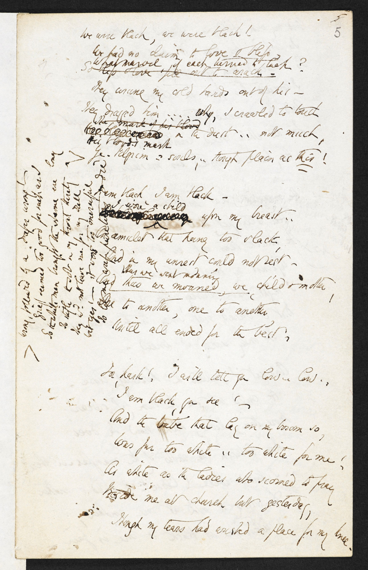Manuscript draft of Elizabeth Barrett Browning's 'The Runaway Slave at Pilgrim's Point'