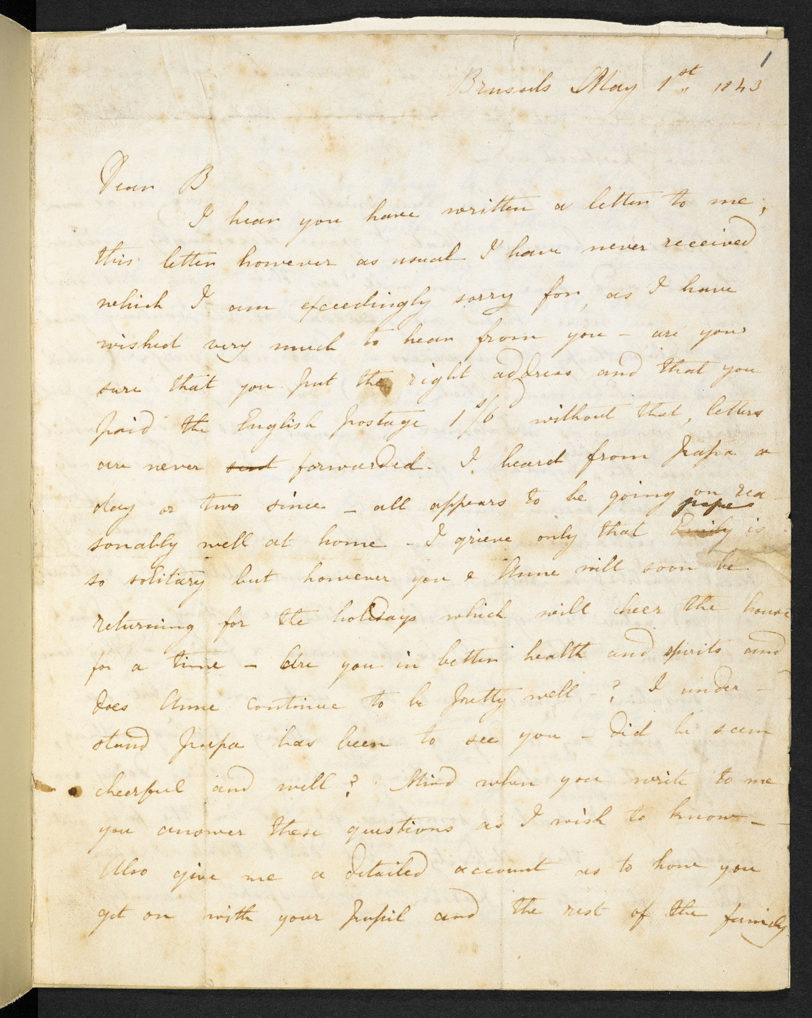 Letter from Charlotte Brontë to her brother Branwell, 1 May 1843