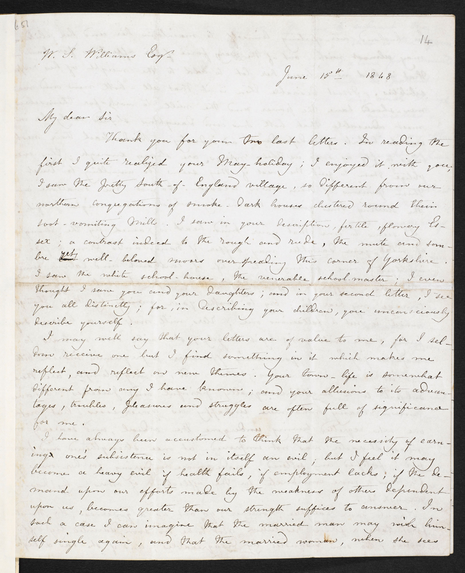 Letter from Charlotte Brontë to W S Williams, with remarks on the life of a governess, 15 June 1848