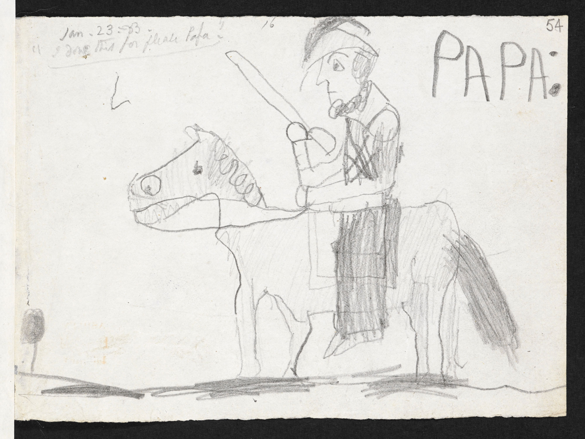 Drawing by Elizabeth and Robert Browning's son, Pen, of 'PAPA'