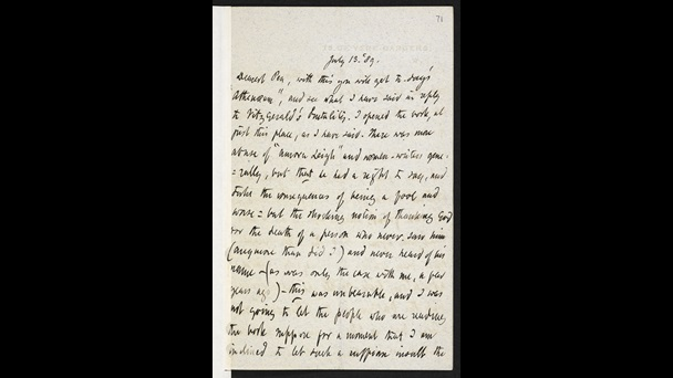 Letter from Robert Browning to his son Pen, discussing Edward FitzGerald's attack on Elizabeth Barrett Browning, 13 July 1889