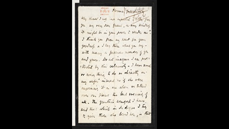 Letter from Robert Browning to Charles Macready on Elizabeth Barrett Browning's death, 18 July 1861