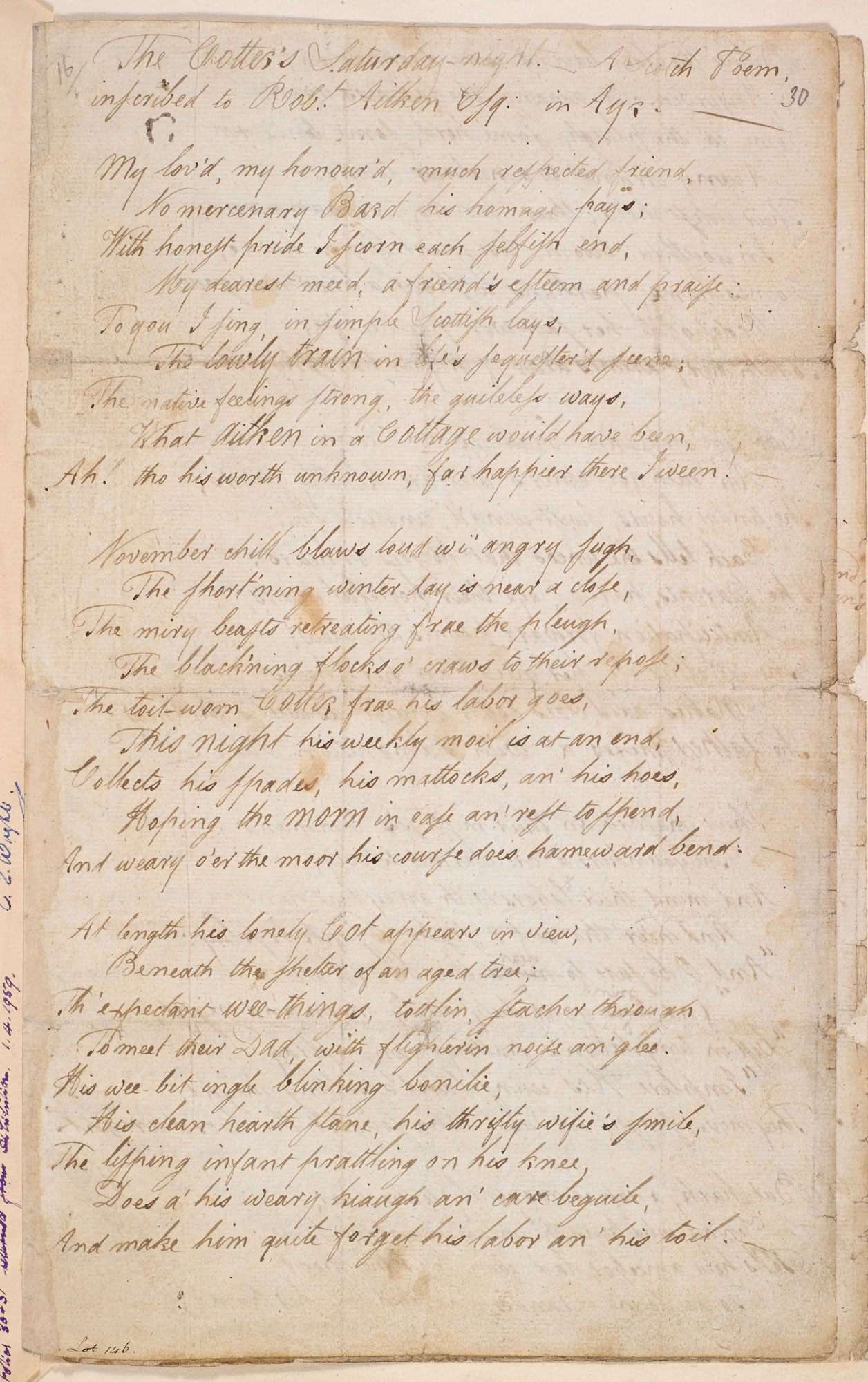 Manuscript of 'The Cotter's Saturday Night' by Robert Burns