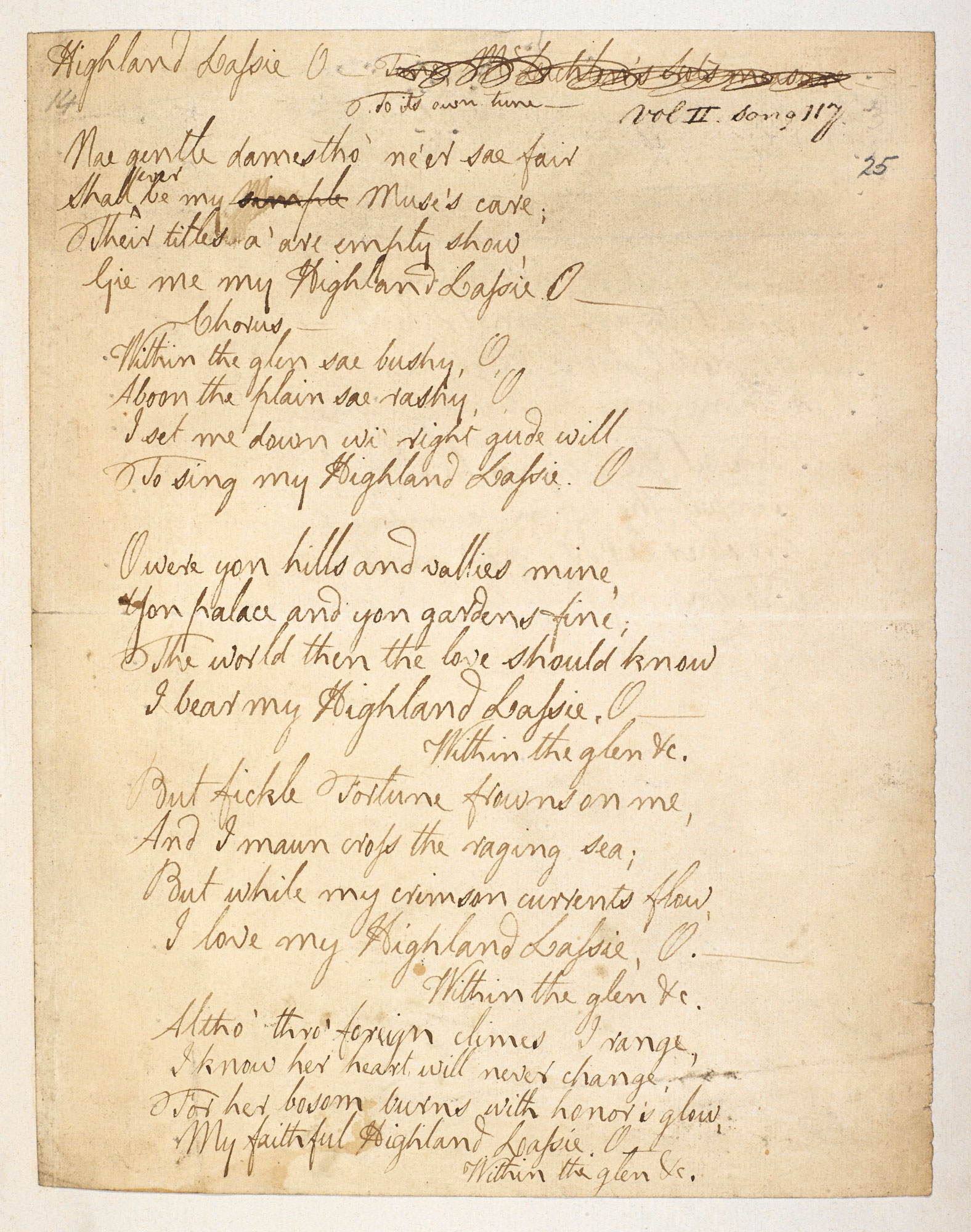 Manuscript songs collected by Robert Burns
