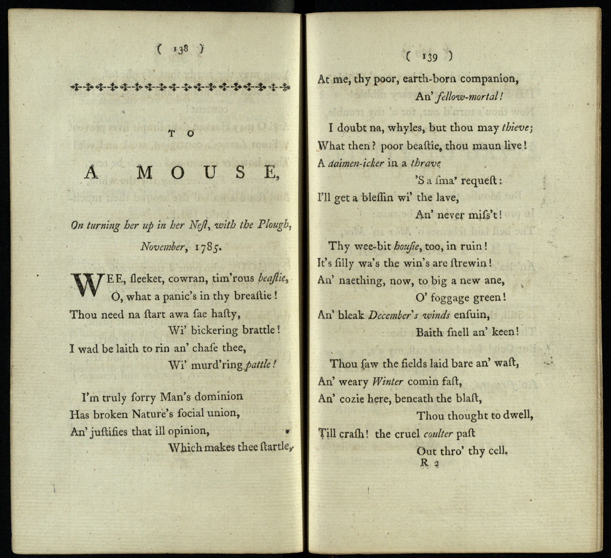 'To a Louse' and 'To a Mouse' by Robert Burns