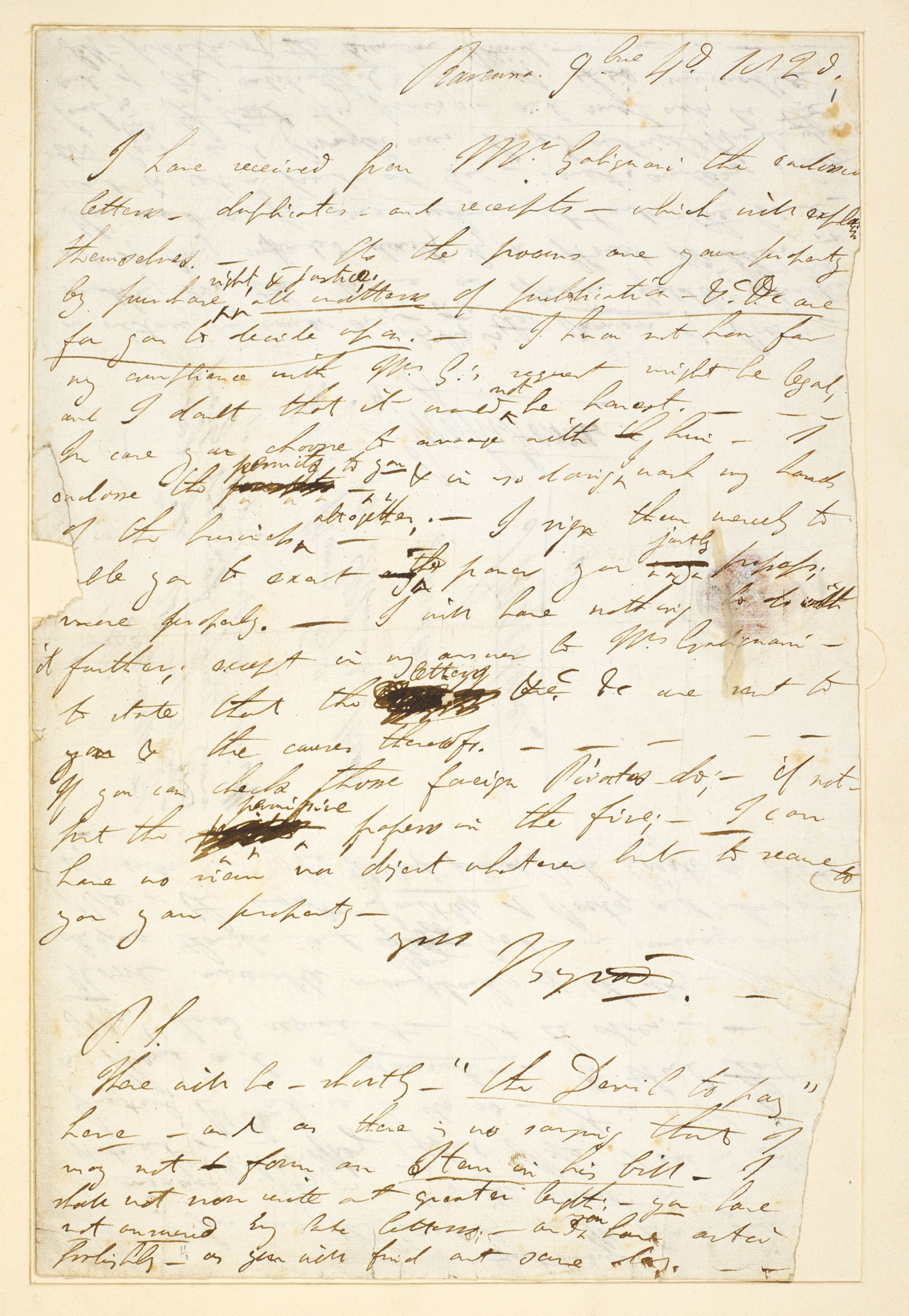 Letter from Lord Byron to John Murray, 4 November 1820