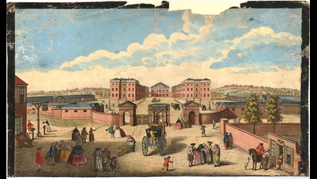 Colour print depicting the Foundling Hospital, a large set of buildings surrounded by a wall and with a gate entrance, with people and horse drawn carriages in the streets