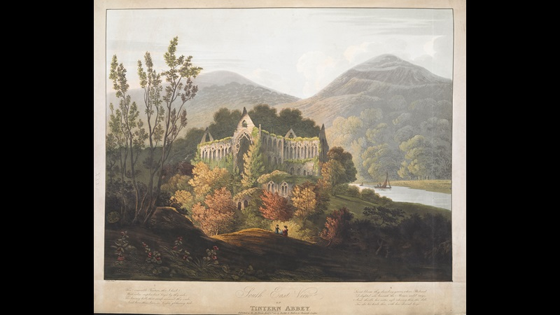 Illustration of the ruins of Tintern Abbey with two figures sat in the foreground, surrounded by woodland, a lake and tall hills or mountains