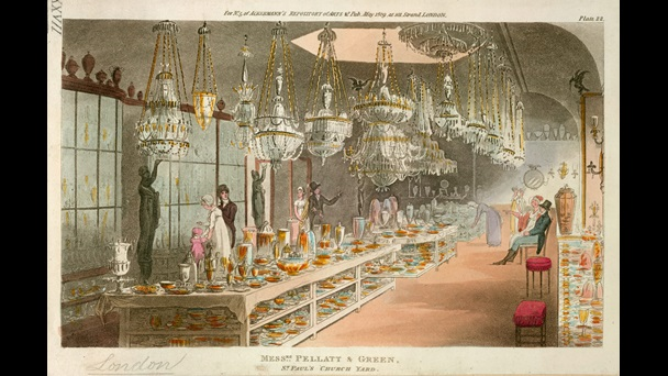 Shopping for glassware at Messrs. Pellatt and Green's, 1809