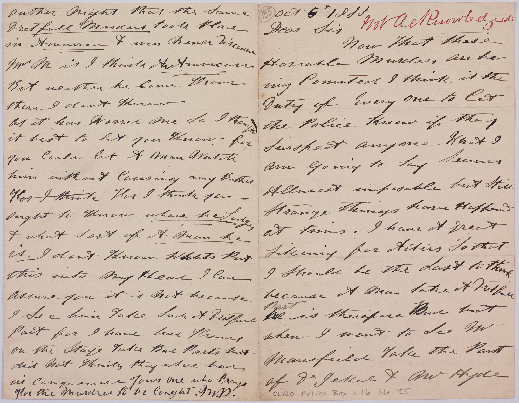 Anonymous letter to City of London Police about Jack the Ripper