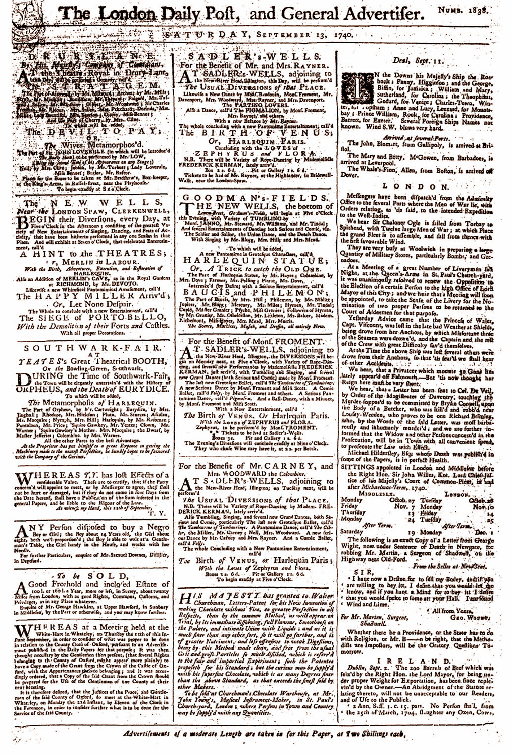 Advertisement in the London Daily Post, 'Any persons disposed to buy a Negro', 1740