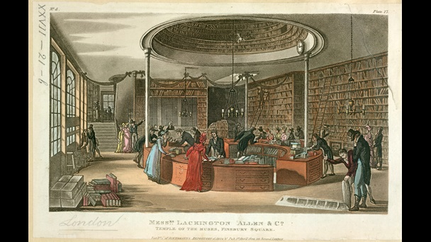 Shopping for books at Messrs. Lackington, Allen & Co.'s Temple of the Muses, 1809