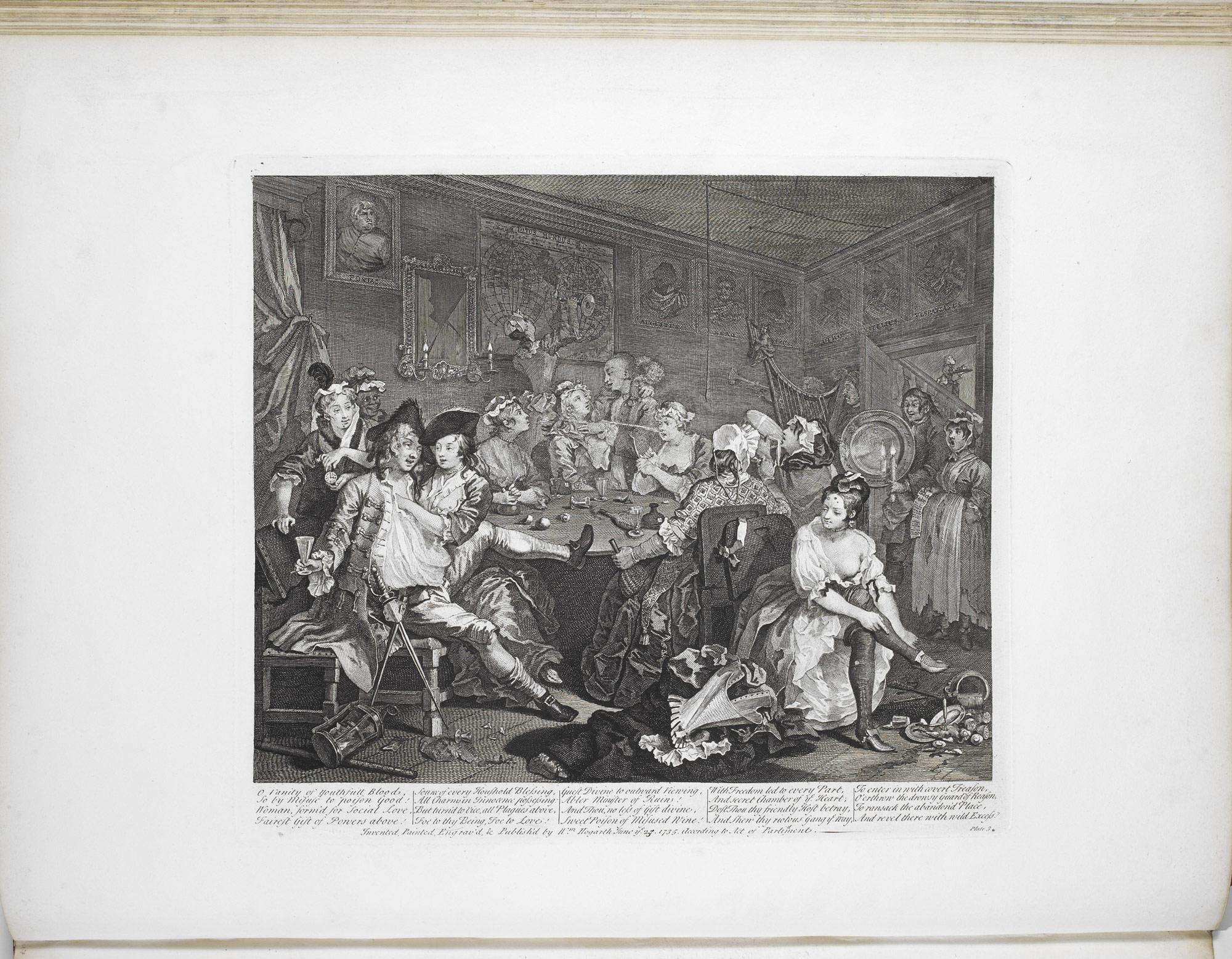 Scene of drunkenness and debauchery from Hogarth's Rake's Progress