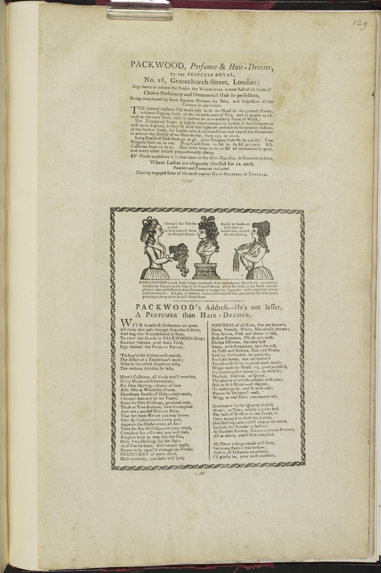 Advertisement for Packwood's, 'Perfumer and Hair-Dresser', 1788