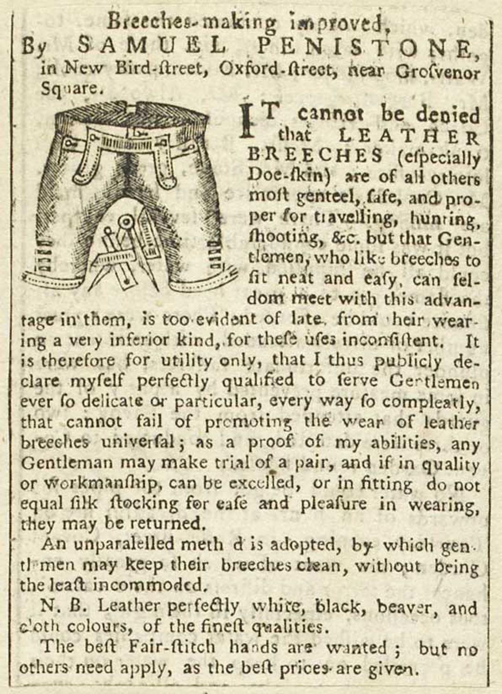 Advertisement for Samuel Penistone's leather breeches, 1775