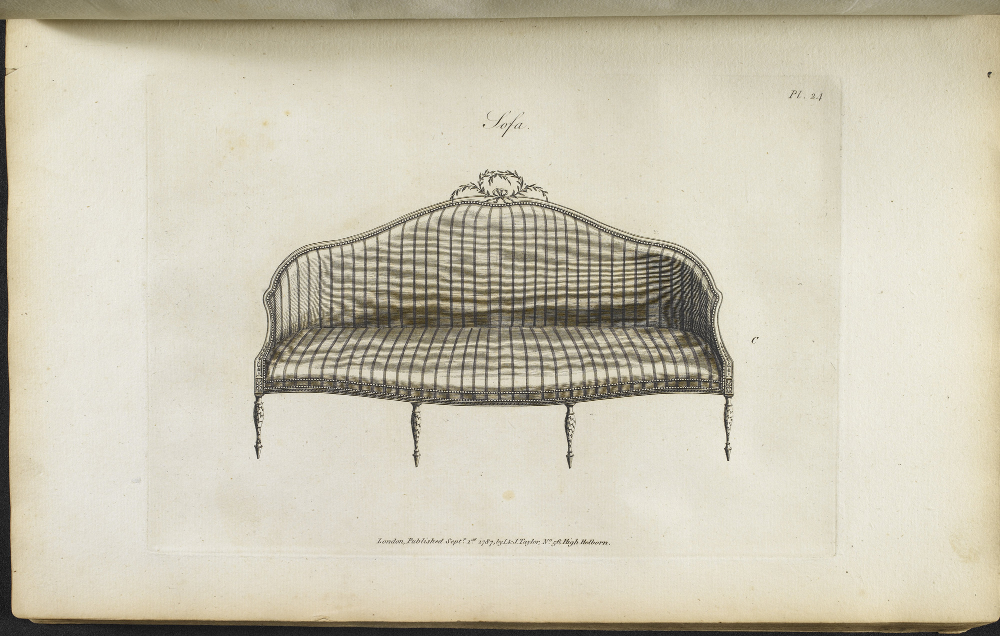 Seating design, shown in the furniture catalogue, from The Cabinet Maker's Guide
