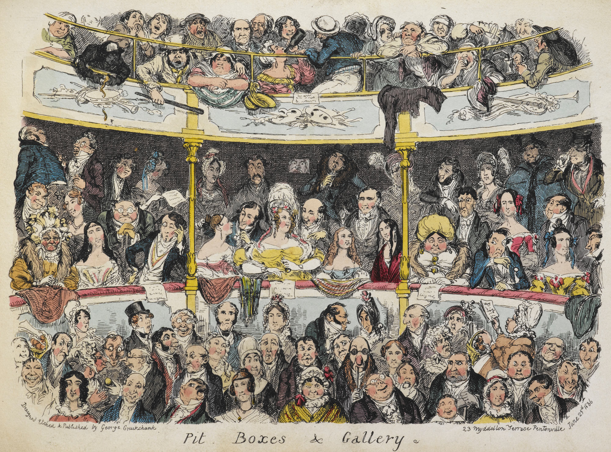 Pit boxes & Gallery, from My Sketch Book by George Cruikshank