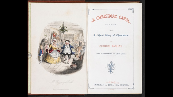 Title page to A Christmas Carol with facing illustration of people dancing