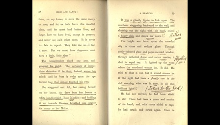 Extract from Charles Dickens's Sikes and Nancy reading with annotations reproduced by the actress Adeline Billington