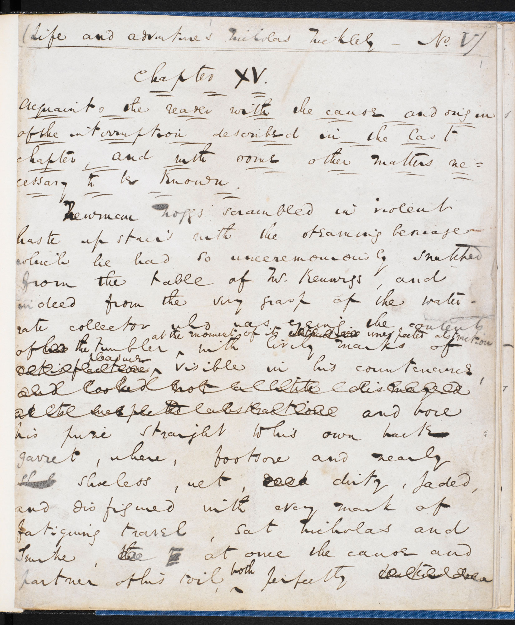 Manuscript of the first part of Chapter 15 from Charles Dickens's Nicholas Nickleby