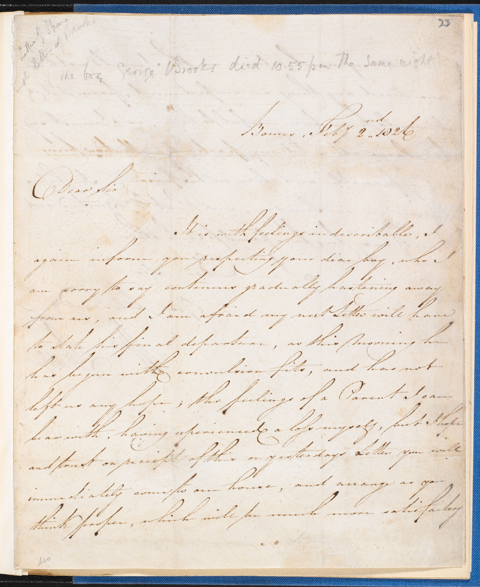 Two letters written from Bowes Academy, the Yorkshire school that inspired Charles Dickens's Nicholas Nickleby