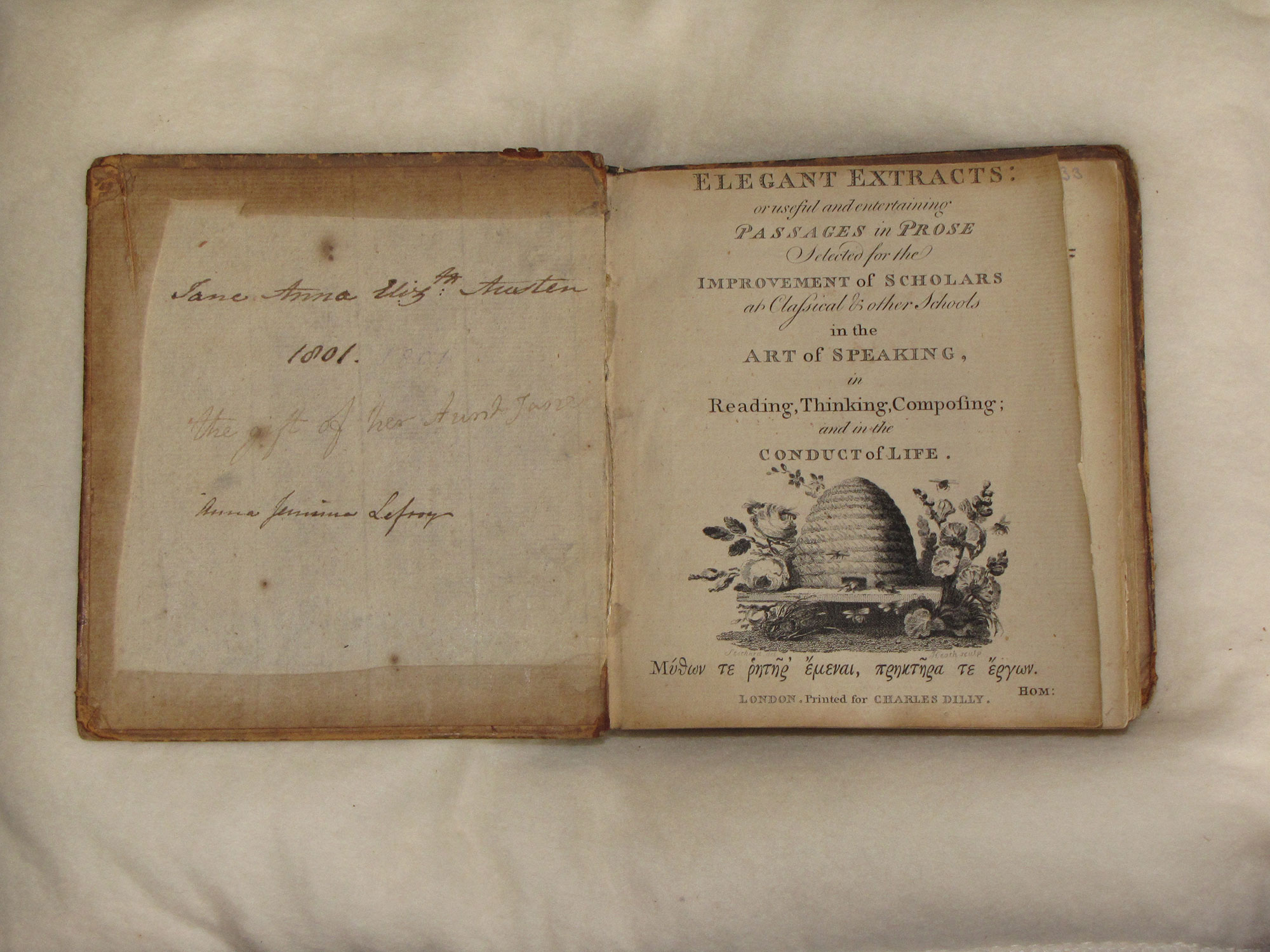 Copy of Elegant Extracts given by Jane Austen to her niece