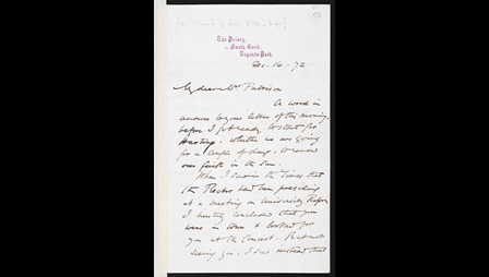 Letter from George Eliot to Emilia Francis Pattison, 16 December 1872