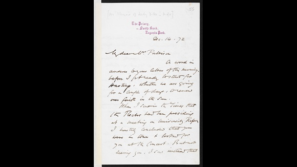 Handwritten letter from George Eliot to Emilia Francis Pattison, 16 December 1872