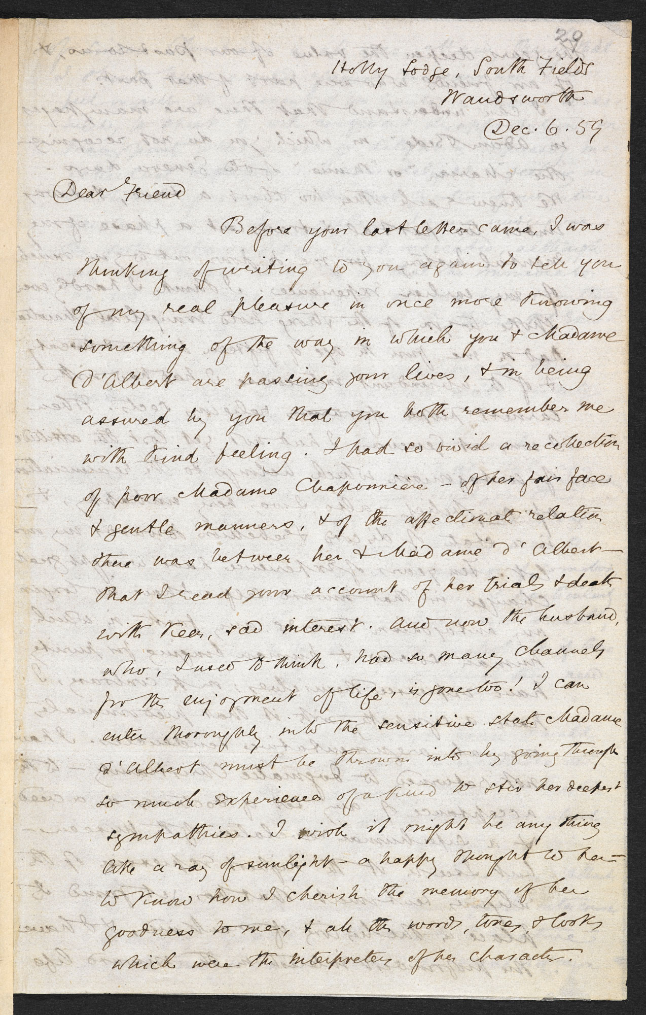 Letter from George Eliot to Francois D'Albert-Durade, 6
