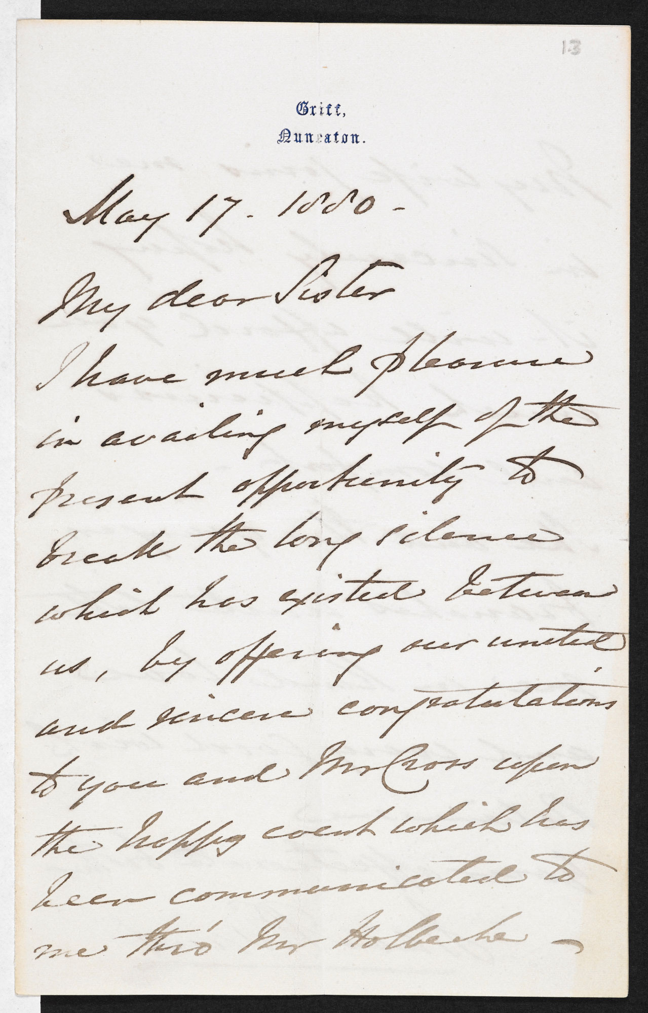 Letter from Isaac Evans to George Eliot, congratulating her on her marriage