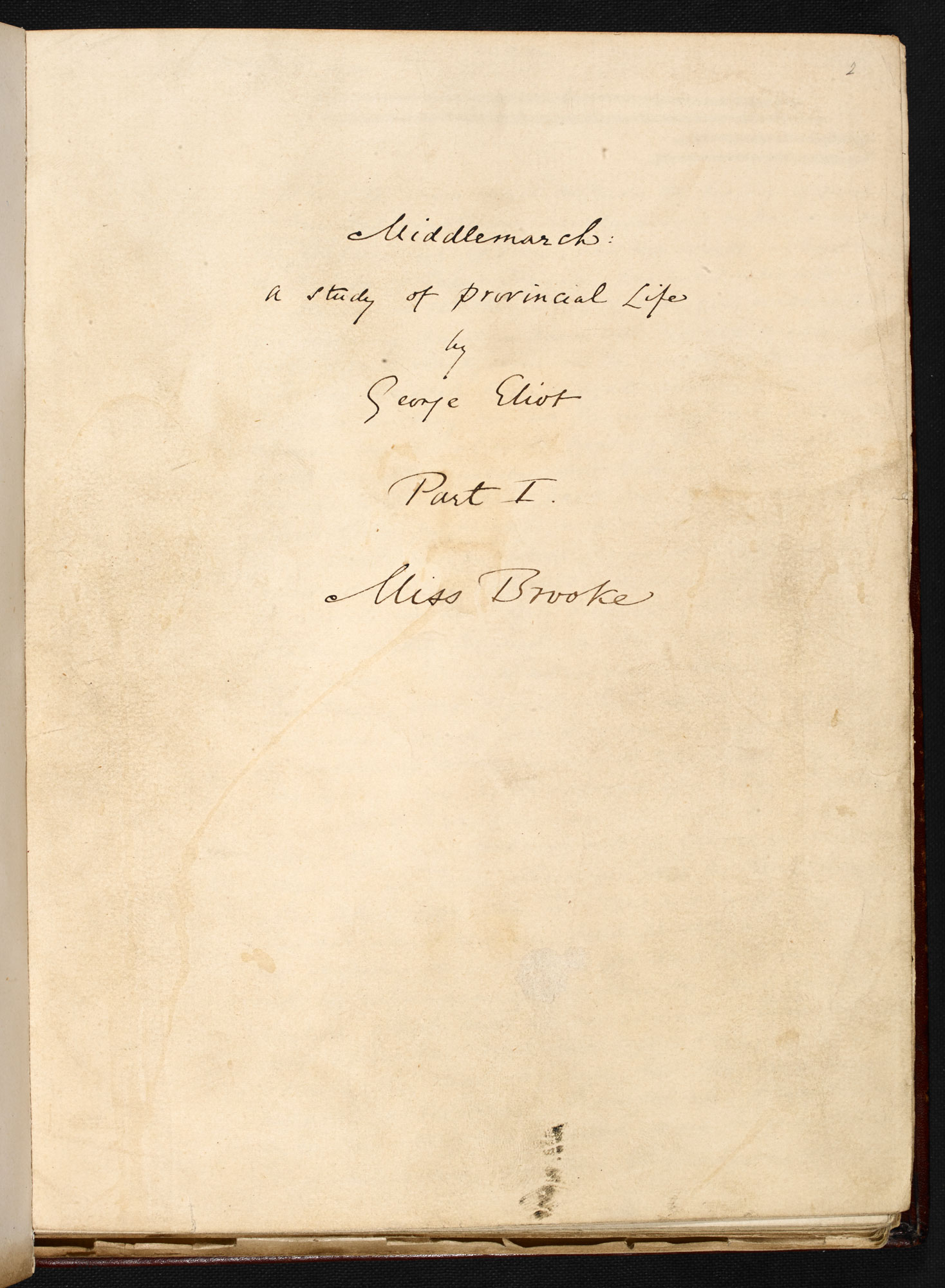 Manuscript of Middlemarch by George Eliot