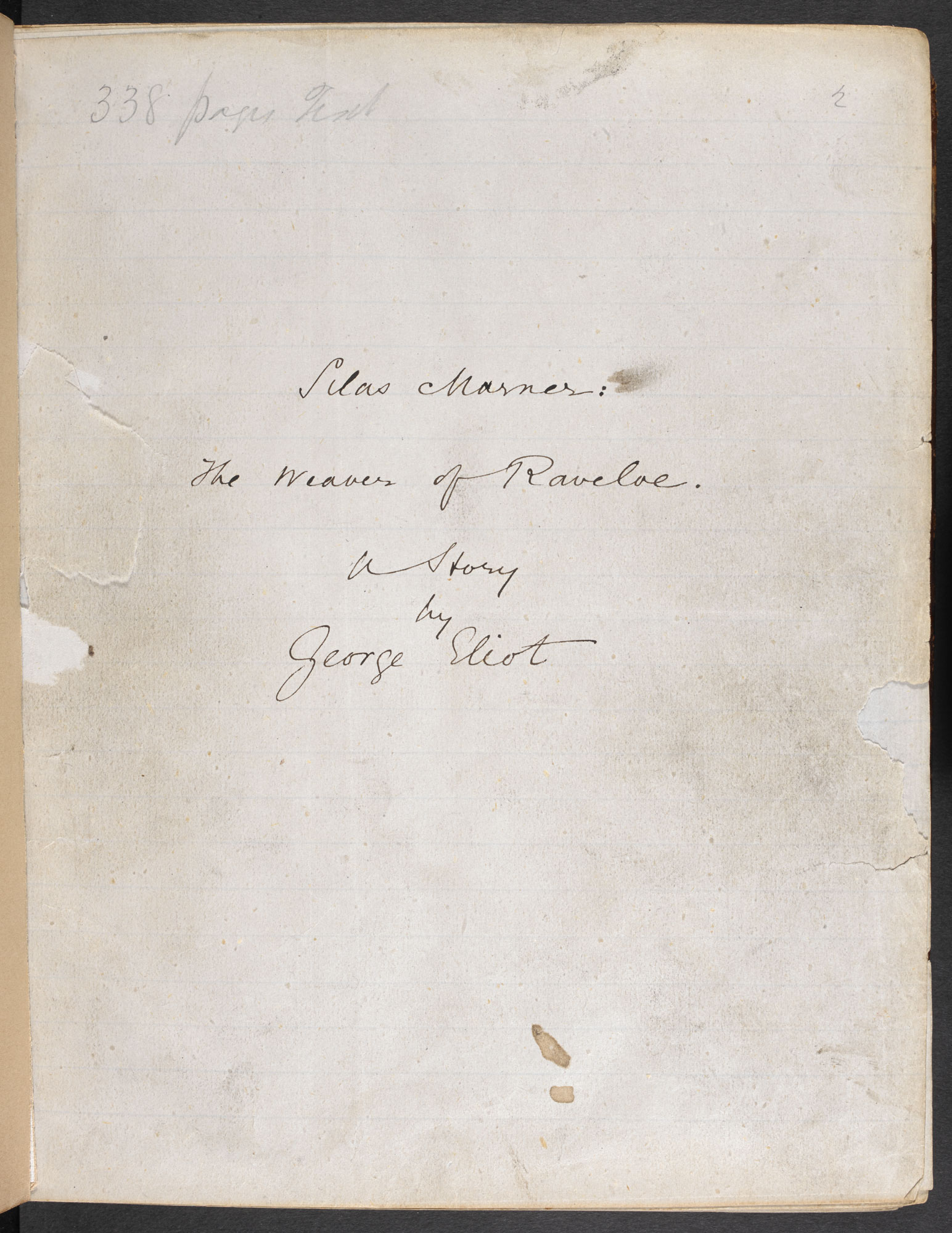 Manuscript of Silas Marner by George Eliot