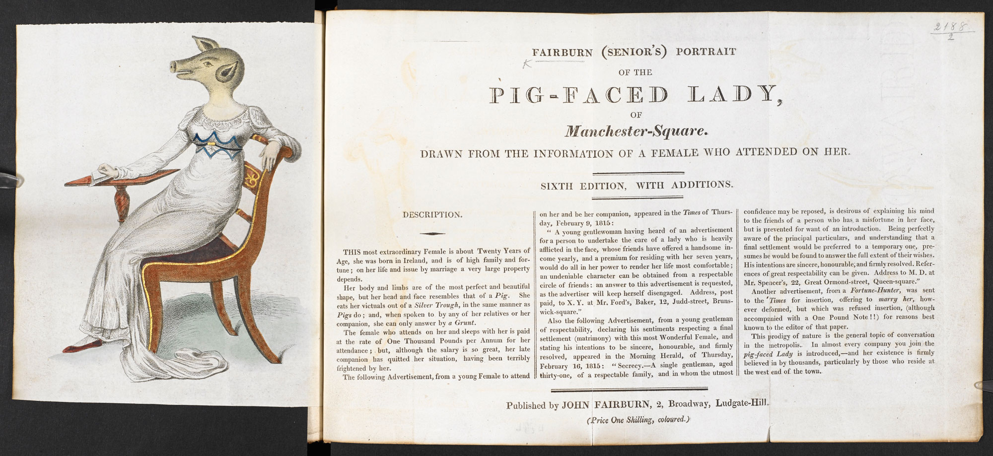 Broadside on the 'Pig-faced Lady'
