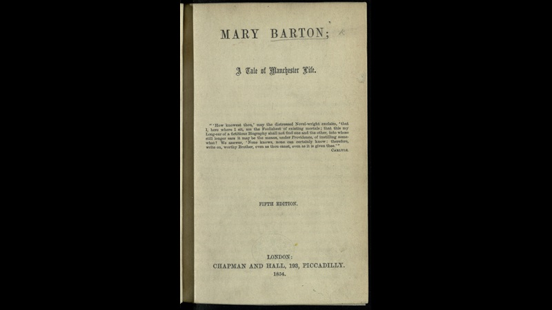 Title page from Mary Barton; A Tale of Manchester Life by Elizabeth Gaskell