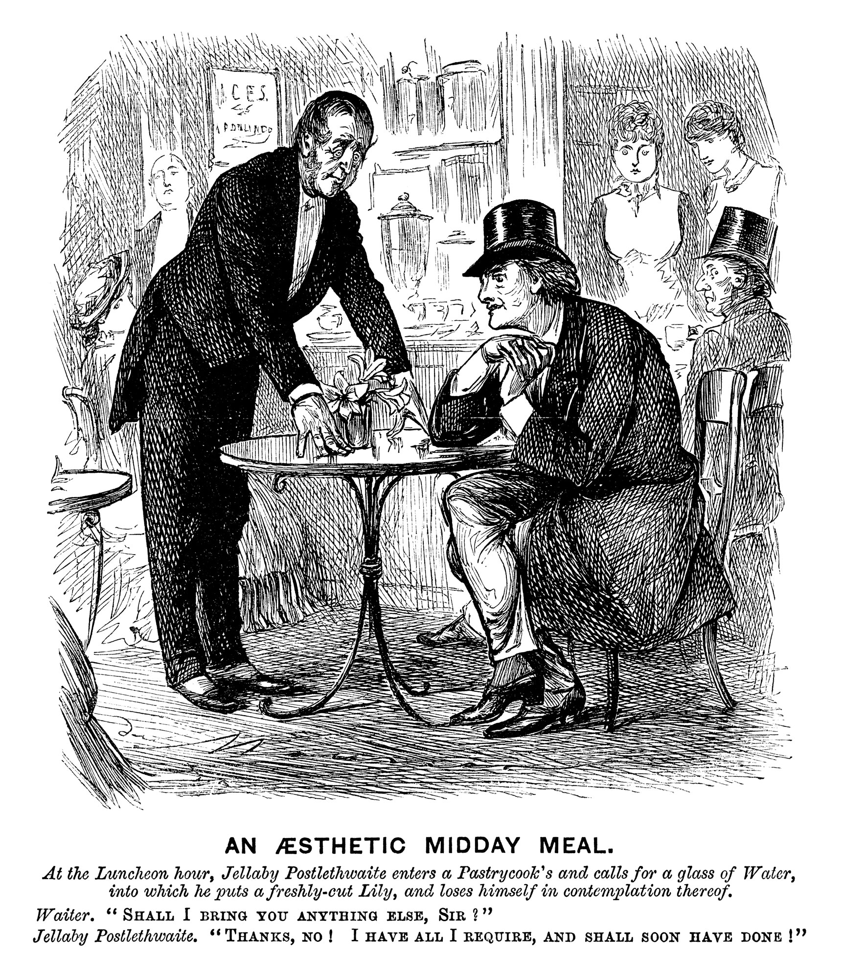 An Aesthetic Midday Meal, a satirical cartoon from Punch