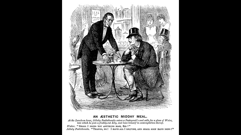 Illustration of a man appearing to day dream while sat a table and being approached by a waiter, satirical cartoon titled An Aesthetic Midday Meal