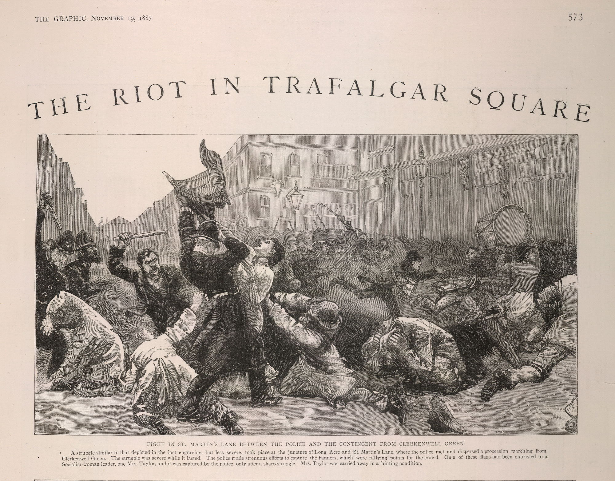 'The Riot in Trafalgar Square' from the Graphic