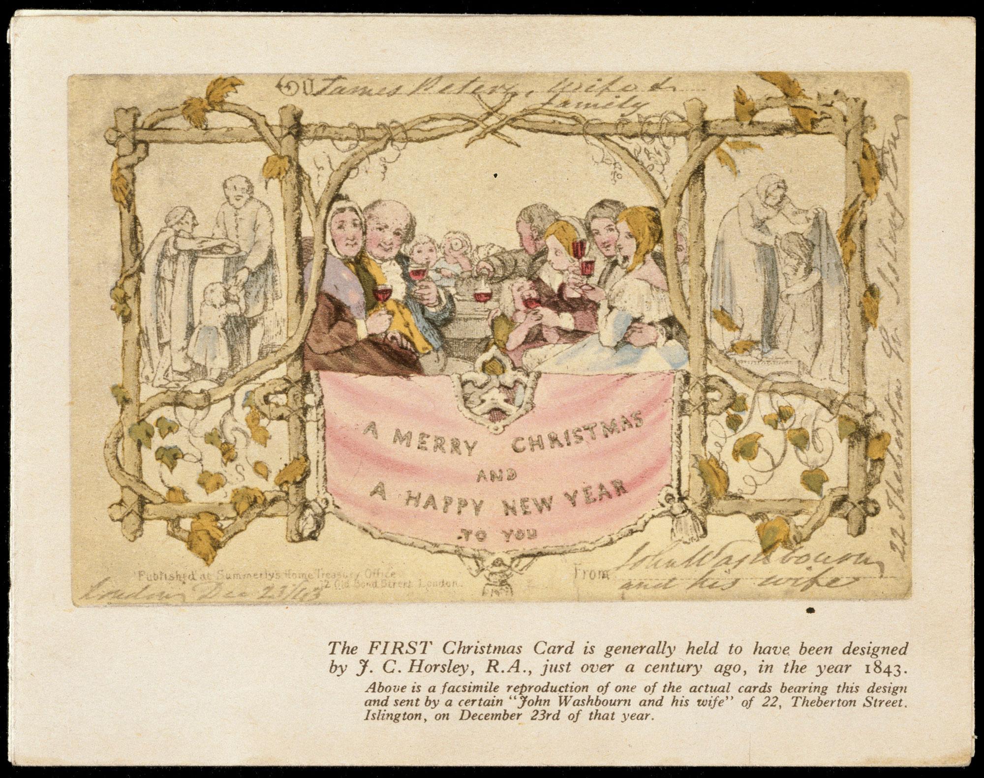 Christmas greetings card by John Callcott Horsley