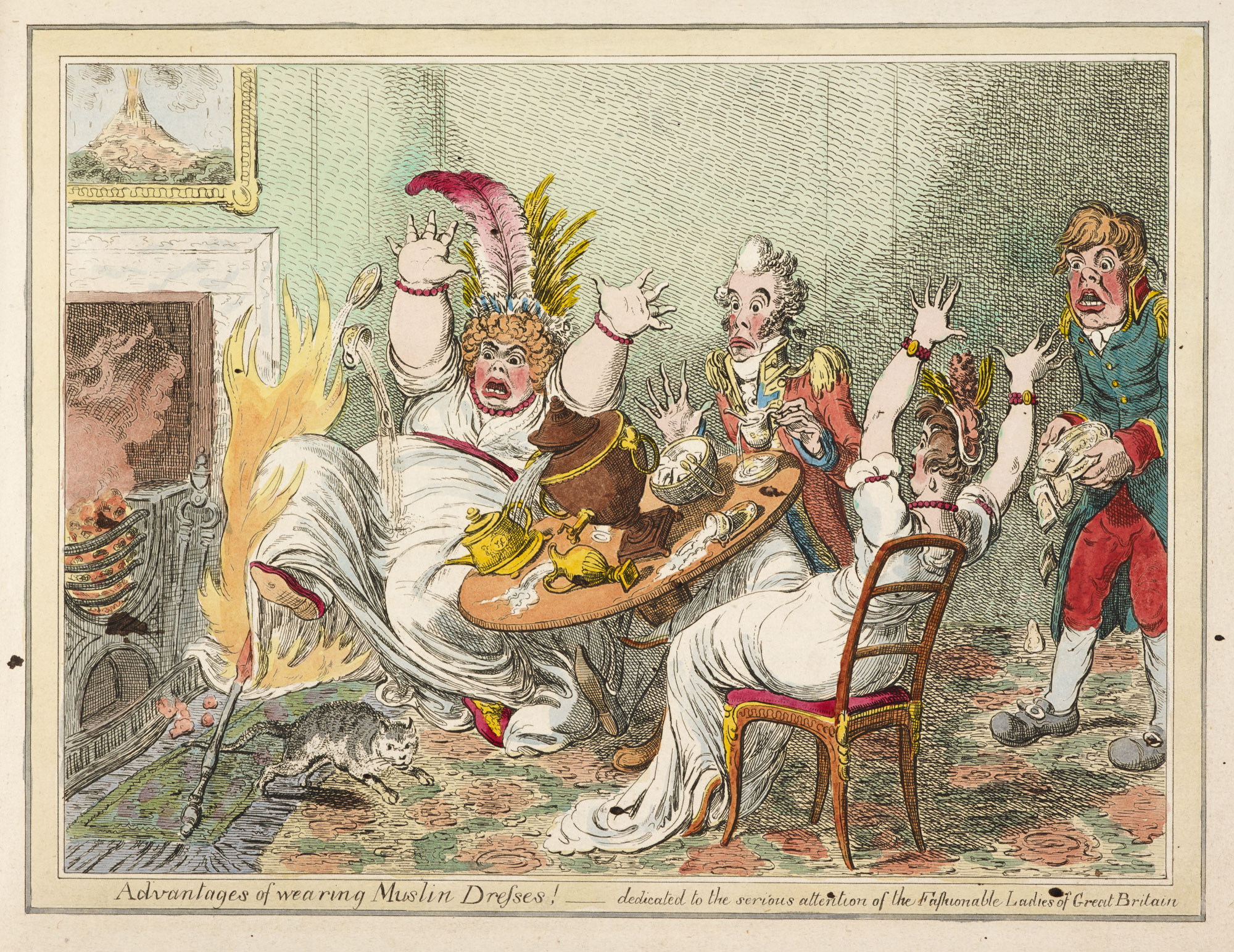 Advantages of Wearing Muslin Dresses! by Gillray