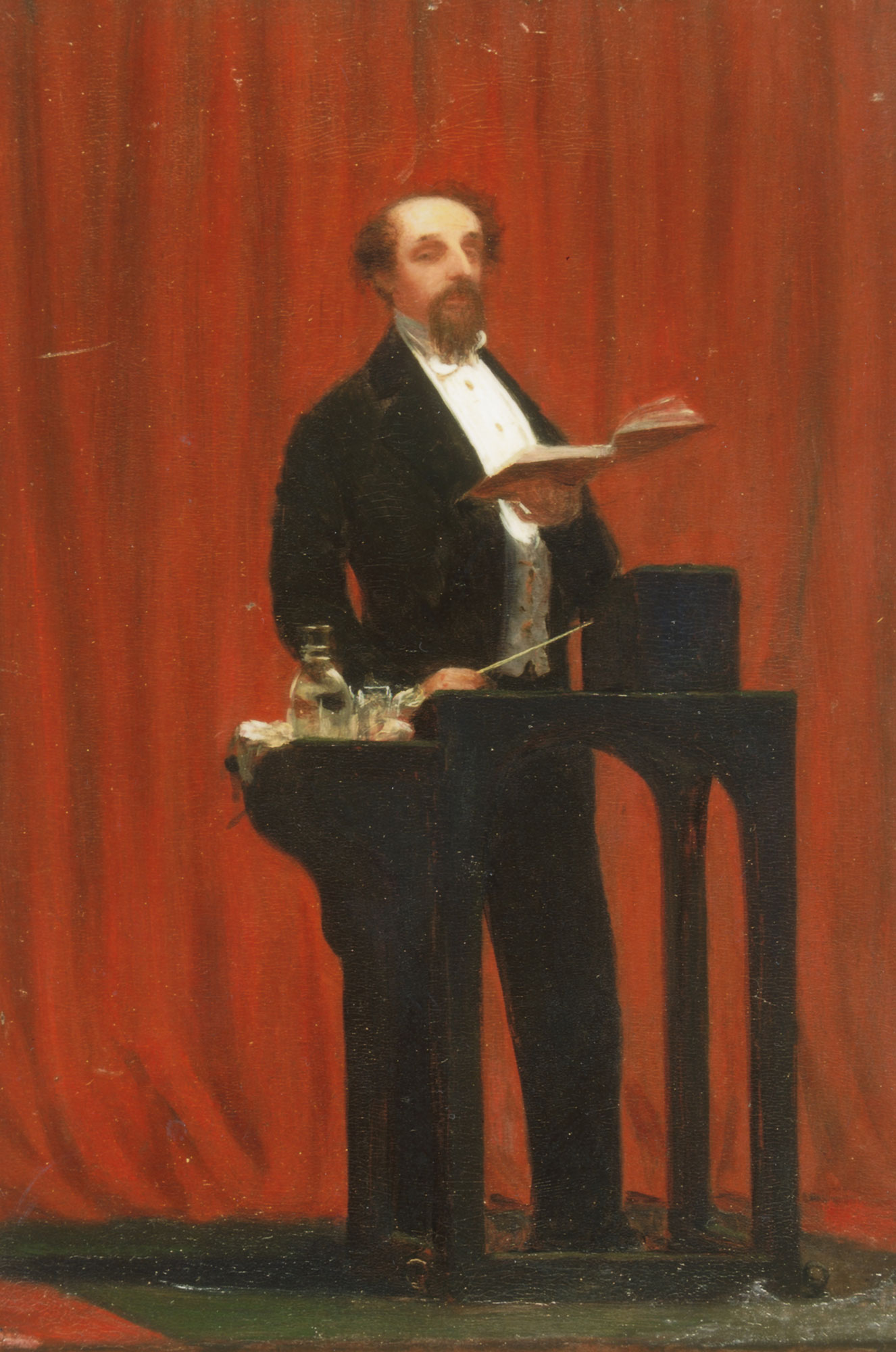 Painting of Charles Dickens reading in 1858 by Robert Hannah